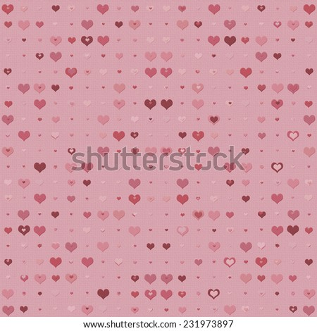 Double heart background in shades of pink and red - stock photo