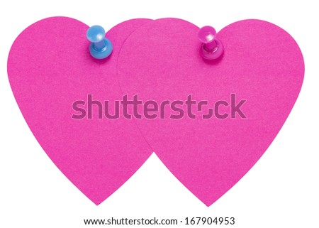 Double Heart Sticky Label, with pink an blue pin, isolated on white background - stock photo