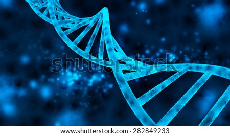 double helix of the DNA in blue background - stock photo