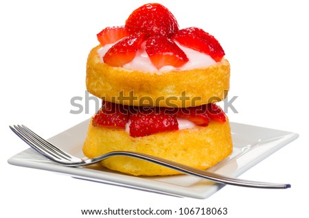 Double Layer Circular Strawberry Shortcake with Strawberry Cream Cheese Filling Isolated - stock photo