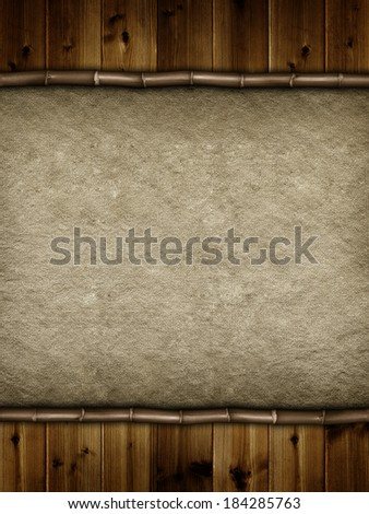 Double layered background - wooden planks and handmade paper - stock photo