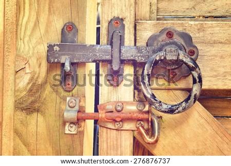 Double-lock on a garden gate. Retro-style - stock photo