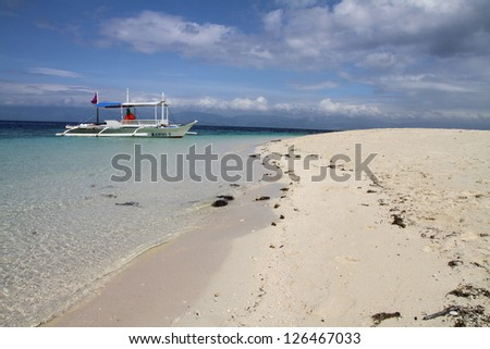 Double outriggers traditional banca, Philippines - stock photo