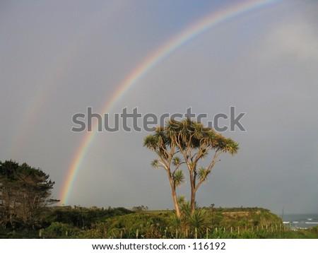 Double Rainbow, New Zealand - stock photo