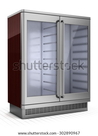 Double refrigerated showcase with glass doors isolated on white - stock photo