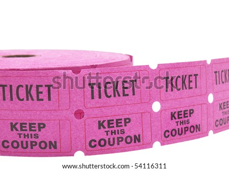 Double roll of pink raffle tickets with all numbers removed. Isolated on white for easy removal. - stock photo
