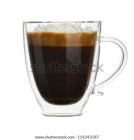 Double sided wall glass. Cup of coffee isolated on white background. - stock photo