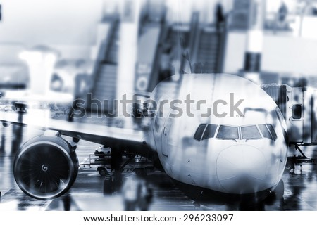 double the exposure plane and the people at the airport - stock photo