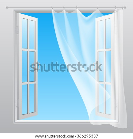 Double window opened outwardly with white fluttering curtain - stock photo