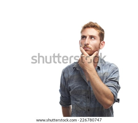 doubt ginger young man with shirt - stock photo