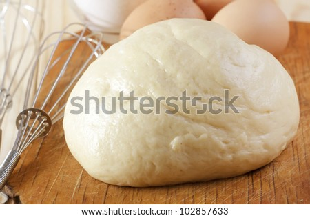 dough and eggs - stock photo