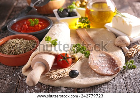 dough and ingredient - stock photo