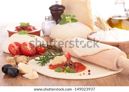 dough pizza with ingredient - stock photo