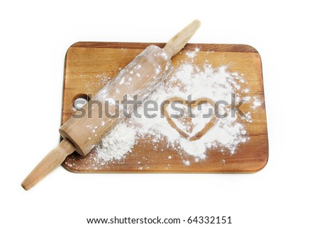 dough roller and flour over white - stock photo