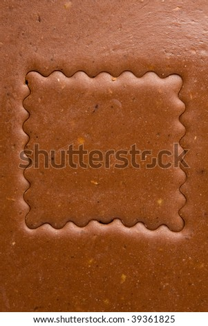 dough with cut out square window - stock photo