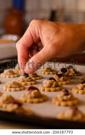 Dough with rolling, preparation for baking cookies, cut form - stock photo