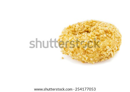 Doughnut nut dessert isolated on white background. - stock photo