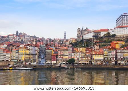 Douro river embankment and  old Oporto, Portugal - stock photo