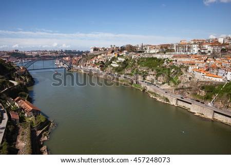 Douro River in city of Porto in Portugal - stock photo