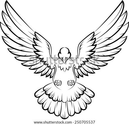 Dove birds logo for peace concept and wedding design - stock photo