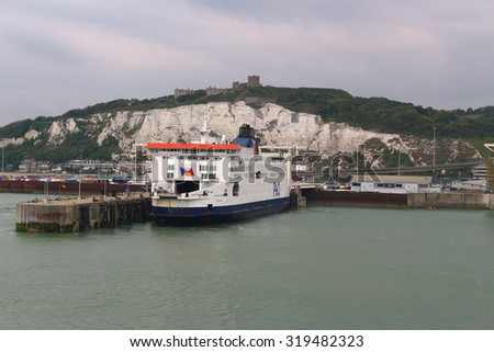 DOVER, UNITED KINGDOM, JUNE 20, 2015: Ferry boat docked in the Port of Dover in the English Channel, England - stock photo