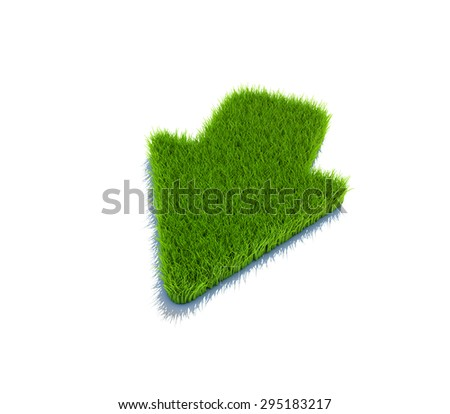 Down arrow symbol from grass. 3d render isolated on white. - stock photo