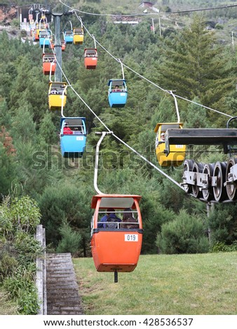 Down the mountain on the cable car   - stock photo
