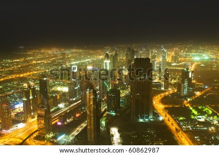Down town of Dubai city from the top - stock photo