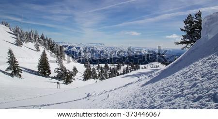 Downhill skiing in Boise, Idaho - stock photo
