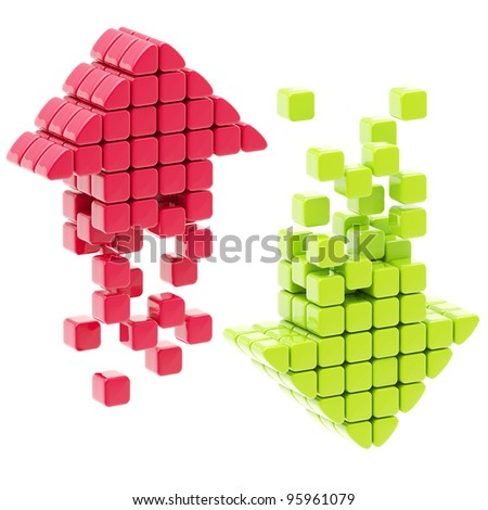 Download and upload red and green glossy arrow icons isolated on white - stock photo
