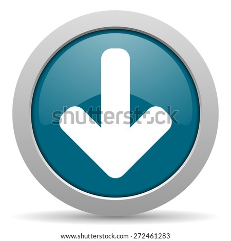 download arrow blue glossy web icon  - stock photo