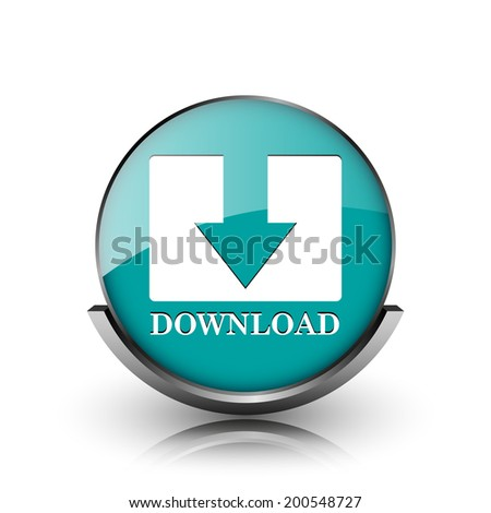 Download icon. Metallic internet button on white background.  - stock photo