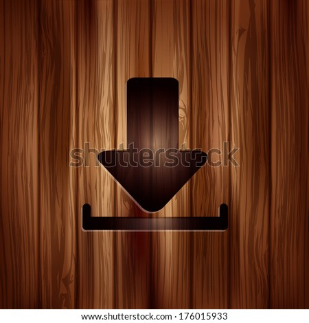 Download icon.  Wooden texture. - stock photo