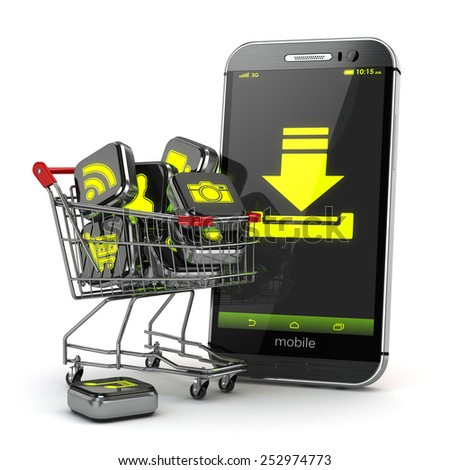 Downloading mobile apps concept. Application software icons in shopping cart and smartphone. 3d - stock photo