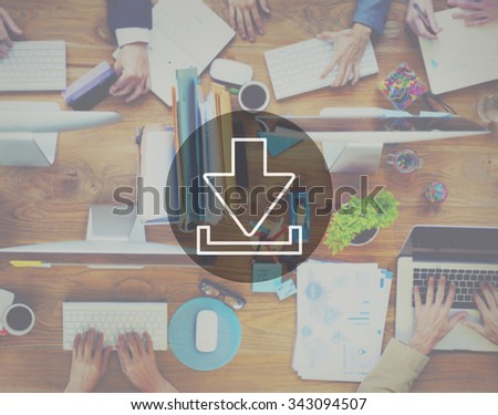 Downloading Technology Internet Connection Data Concept - stock photo