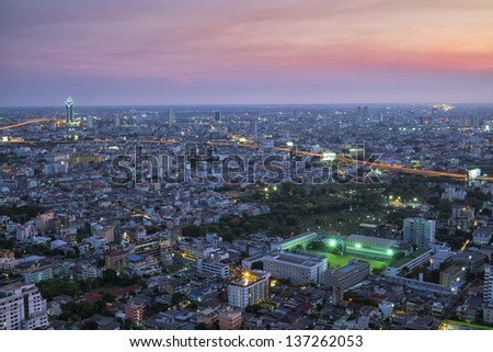 Downtown aerial panorama view  and city skyline - stock photo