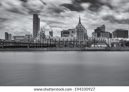 Downtown Albany and the Hudson River, Albany, NY, USA - stock photo