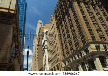 Downtown architecture in Chicago, Illinois, U.S.A.. - stock photo