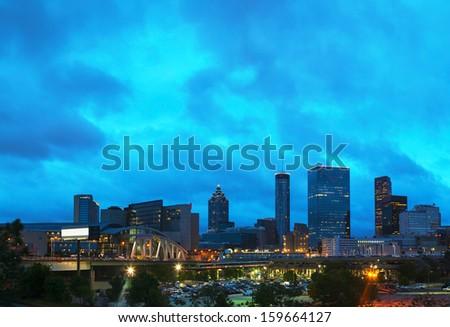 Downtown Atlanta, Georgia at night time - stock photo