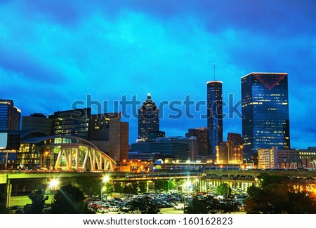 Downtown Atlanta, Georgia at night time - stock photo