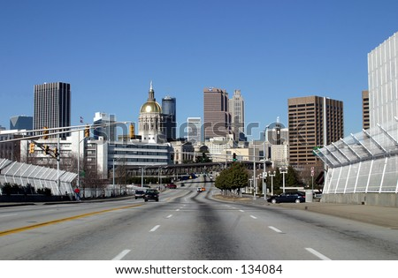 Downtown Atlanta, Georgia including the gold dome of the Capital Building - stock photo