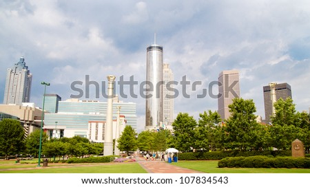 Downtown Atlanta skyline as seen from Centennial Olympic Park - stock photo