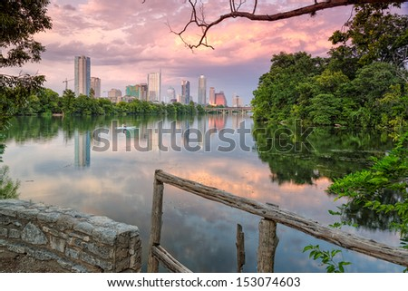 Downtown Austin from Lou Neff Point - stock photo