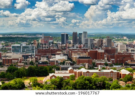 Downtown Birmingham, Alabama, from Vulcan Park - stock photo