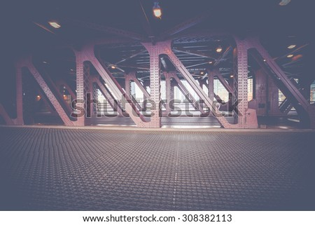 Downtown bridge in Chicago crossing the Chicago River. - stock photo