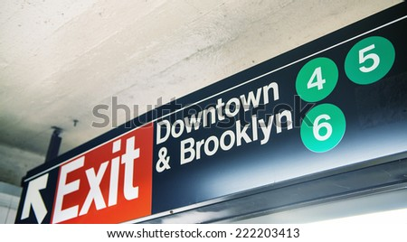 Downtown & Brooklyn subway sign, New York. - stock photo