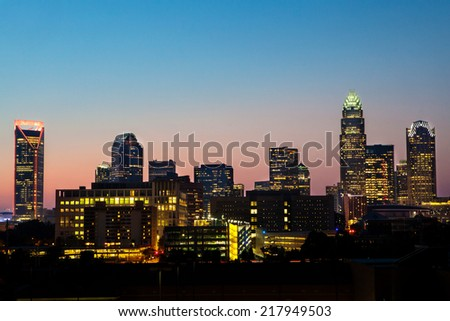 Downtown Charlotte at dusk - stock photo