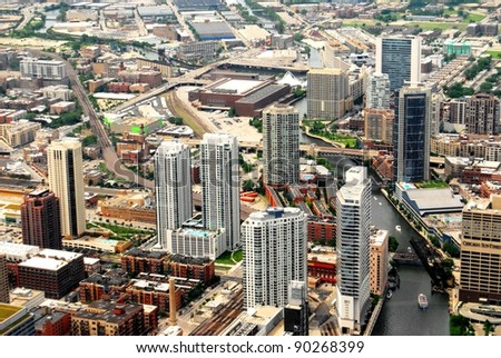 Downtown Chicago Aerial View - stock photo