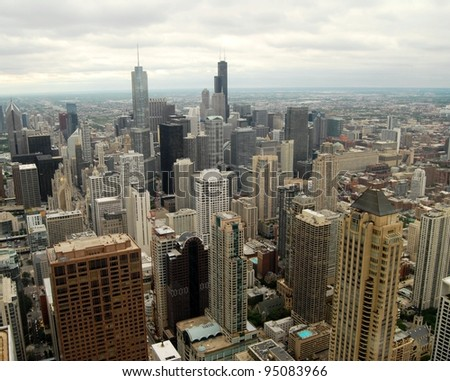 Downtown Chicago Aerial view, Illinois - stock photo