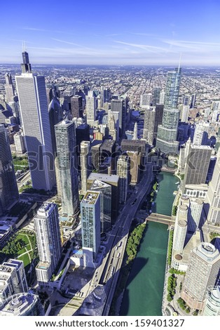 Downtown Chicago aerial view with skyscrapers and Chicago River - stock photo